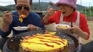 커다란 계란에 케찹 듬뿍~솥뚜껑 오므라이스 (Fried…