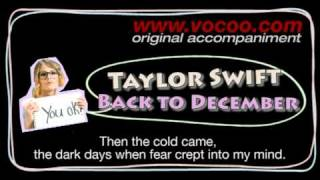 Taylor Swift  - Back to December (Karaoke/original accompaniment / Instrumental / lyrics)