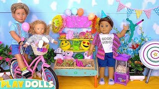 Cute Baby Doll and Her Daddy Bike Ride in Amusement Park!