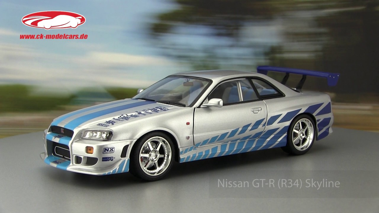 ck modelcars video nissan skyline gt r r34 fast and. Black Bedroom Furniture Sets. Home Design Ideas