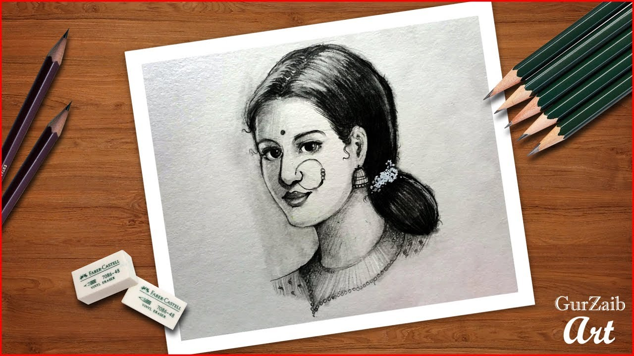 How to draw beautiful indian bride face indian woman pencil shading drawingstep by step