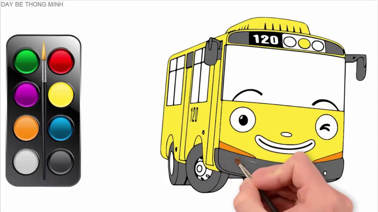 Em học vẽ và tô màu xe buýt | Tô màu vàng | How to draw
