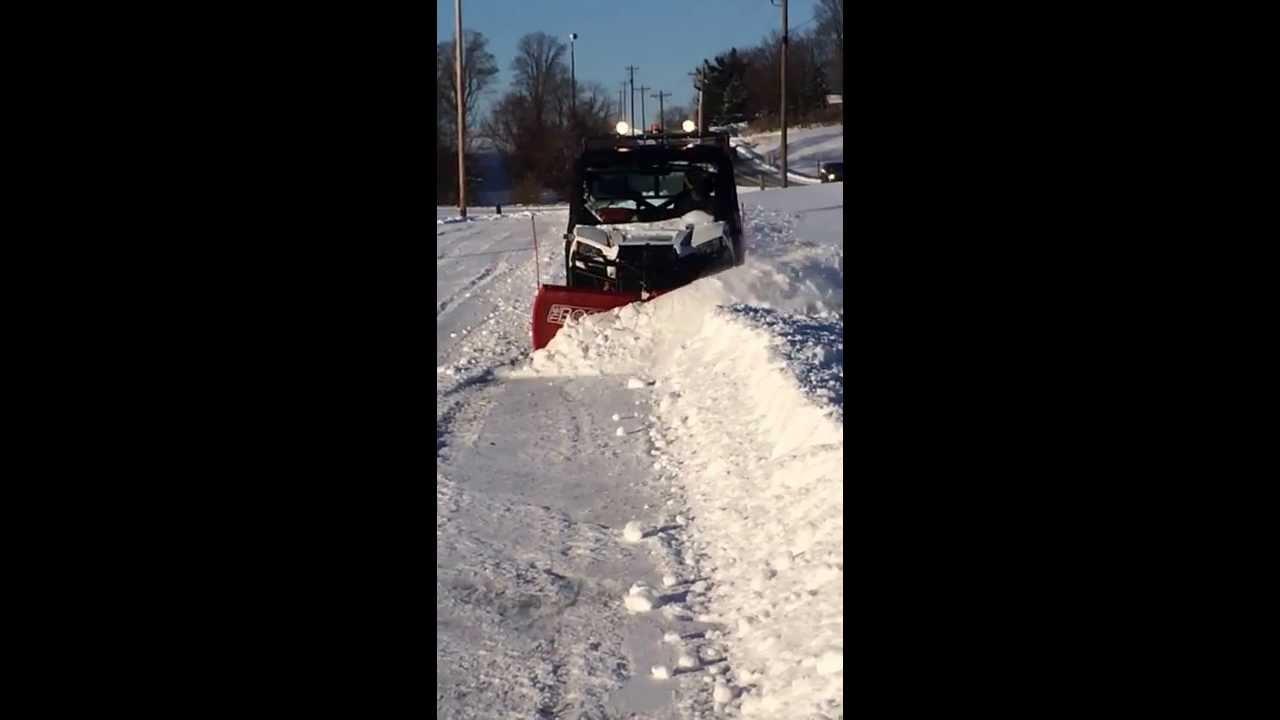 Polaris Ranger 900 Xp Plowing With Boss Utv V Blade