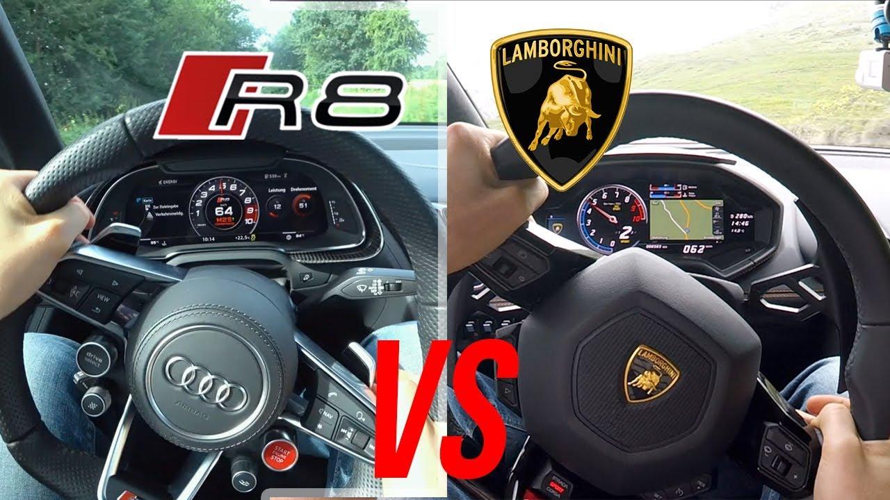 AUDI R8 vs. Lamborghini Huracán + Sound/Speed Review - YouTube