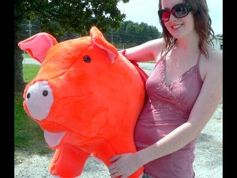 giant orange color stuffed pig 32 inch big plush animal made in america with free. Black Bedroom Furniture Sets. Home Design Ideas