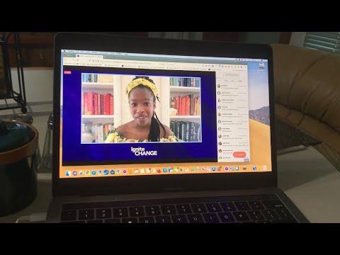 Watching Amanda Gorman Keynote At Professional Business Woman California Conference 2021