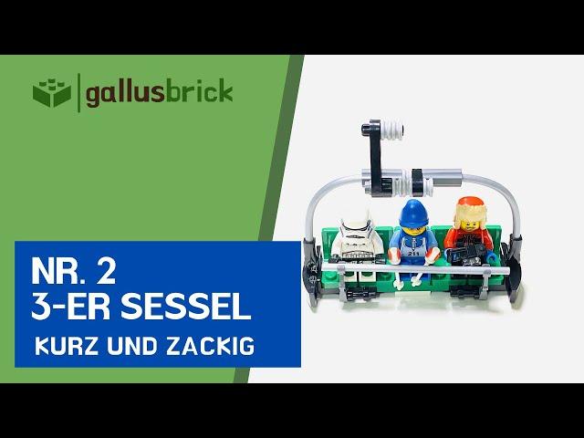Wie baue ich einen 3er-Sessel für Sessellift aus LEGO | Nr. 2 kurz und zackig