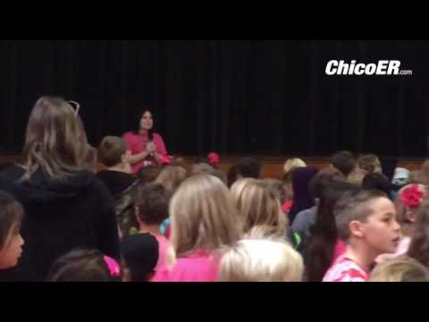 Hooker Oak Elementary School students stand up against bullying on Pink Shirt Day Wednesday