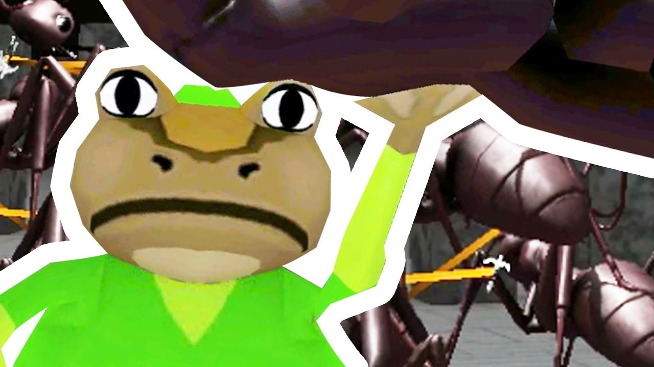 link-frog-picks-up-and-grapples-giant-ants-amazing-frog-part-117-pungence