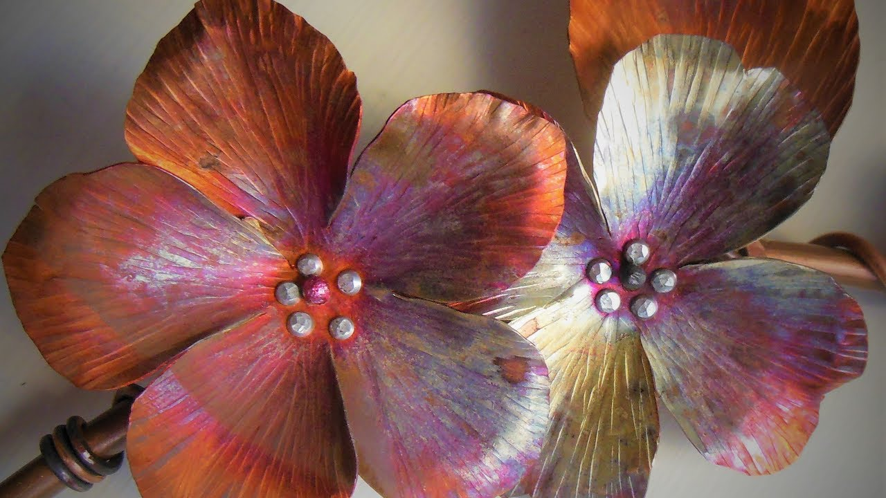 how to make a dogwood flower out of salvaged copper