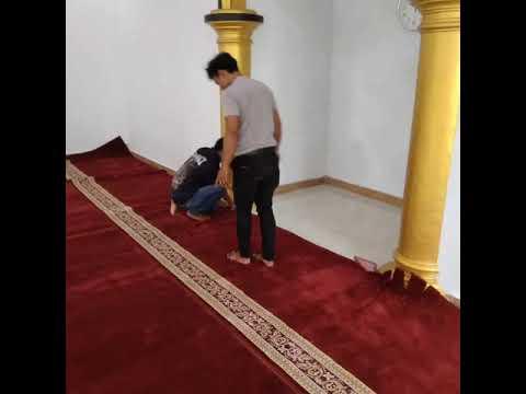 Pemasangan Karpet Masjid Turki Type Royal Tabriz Musholla Al Furqon ,Batur,Banjarnegara Jateng