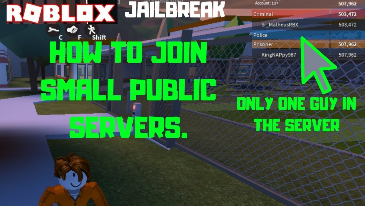 Roblox Server With Lowest Players Hack How To Join Small Public Servers Roblox Jailbreak Youtube