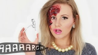 HALB SEXY HALB VERLETZT - Halloween Make Up TWO FACED | ViktoriaSarina