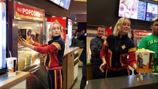 Captain Marvel Surprises Audience by Serving Popcorn at Movie Theater