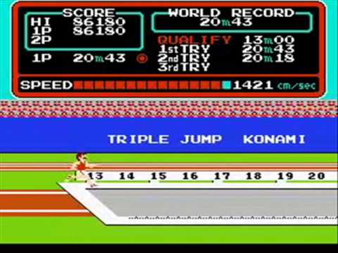 Track & Field (NES) - Round 1 Gameplay