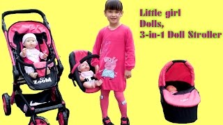 little girl baby annabell missy kissy play outside go for a walk in dimples 3 in 1 dolls stroller