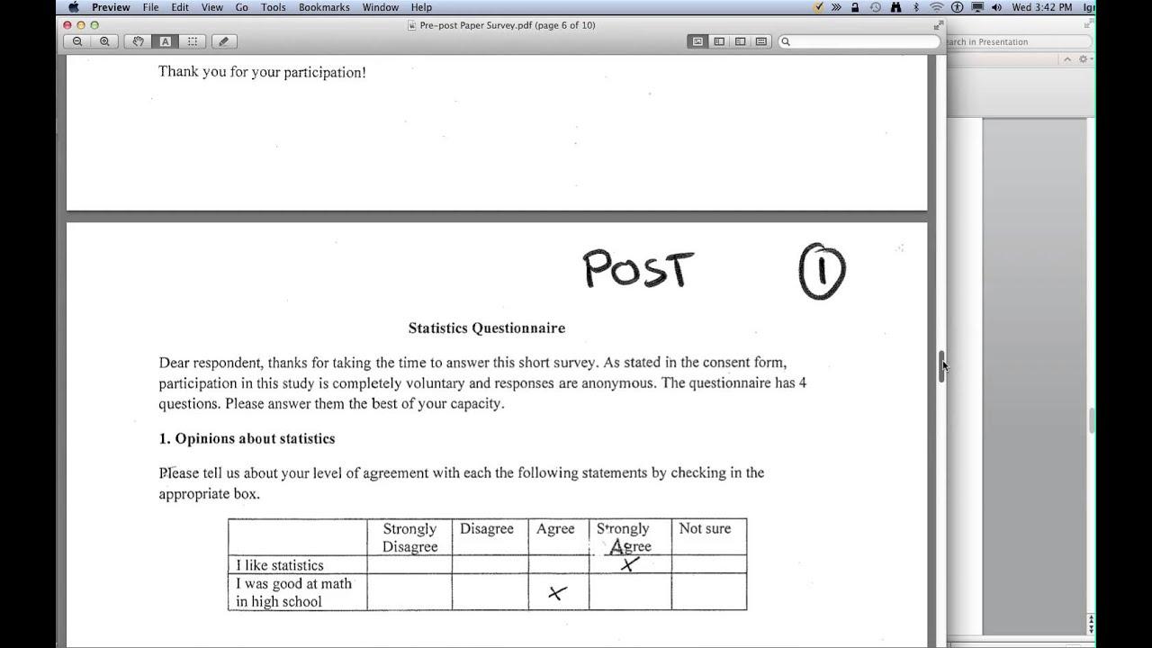 datasets entering pre post survey data in excel youtube