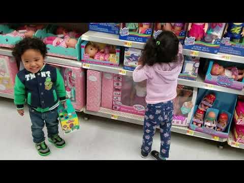 KK and Biggie at Wal-Mart looking at the toys.