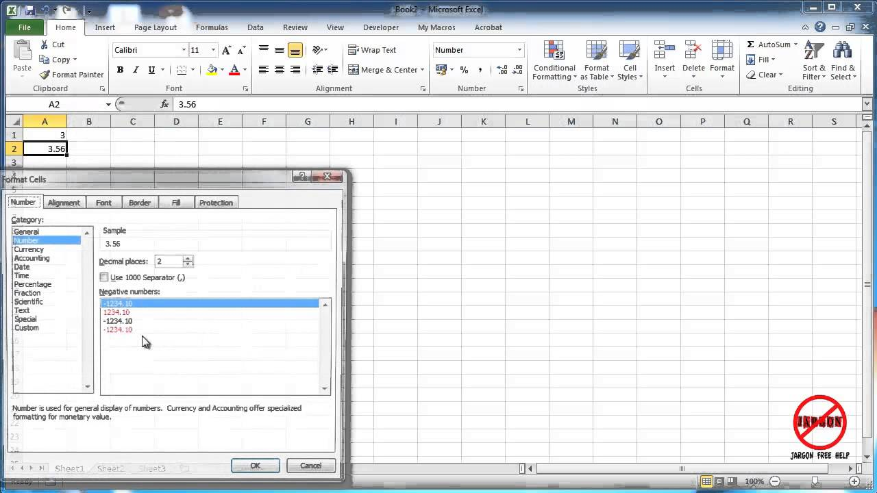 excel how to change decimal places number formatting youtube