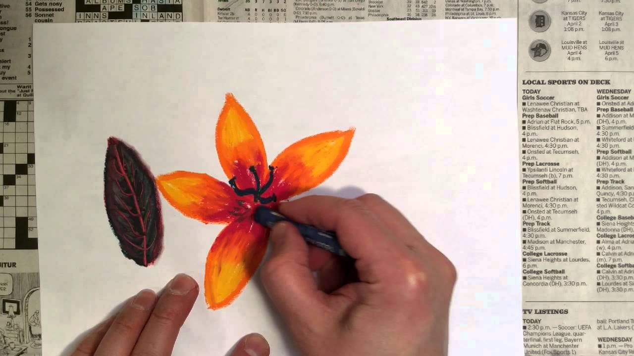 Oil Pastel Tutorial  Techniques For Drawing A Leaf And A Flower  Youtube