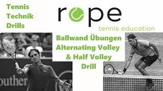 Tennis Technik Drills - Ballwand Übungen - Alternating Volley & Half Volley