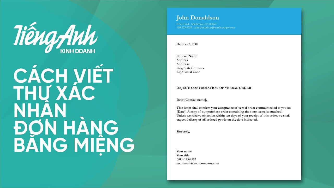 12. Cách viết Thư xác nhận đơn hàng bằng miệng | SAGA - TIẾNG ANH KINH DOANH