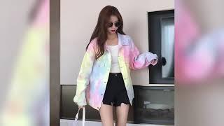 Женская джинсовая куртка с радужным принтом Повседневная шикарная куртка в Корейском стиле 2021