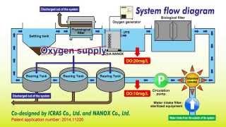 A closed recirculating aquaculture system (CRAS) using oxygenated ultra fine bubbles