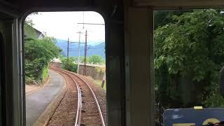 えちぜん鉄道比島駅を通過する後面車窓