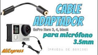 Cable adaptador para micrófono GoPro Hero 3, 4, Black - (Prueba de sonido)