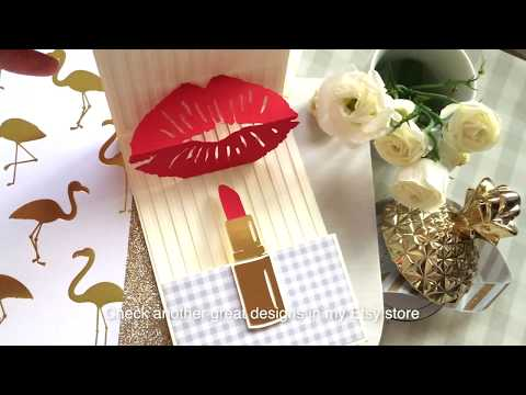 Lipstick pop up card assembly tutorial