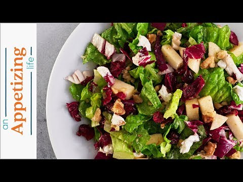 Winter Salad Recipe | Romaine, Radicchio, Apple & Walnuts