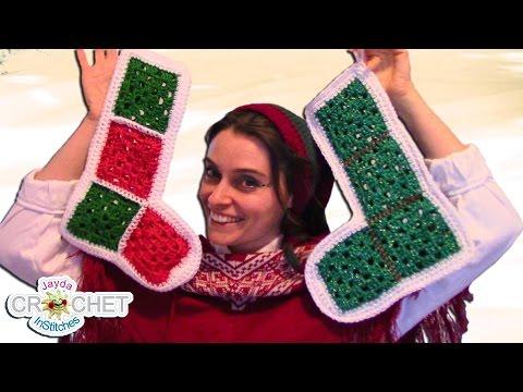 Vintage Granny Square Christmas Stocking - Crochet Pattern