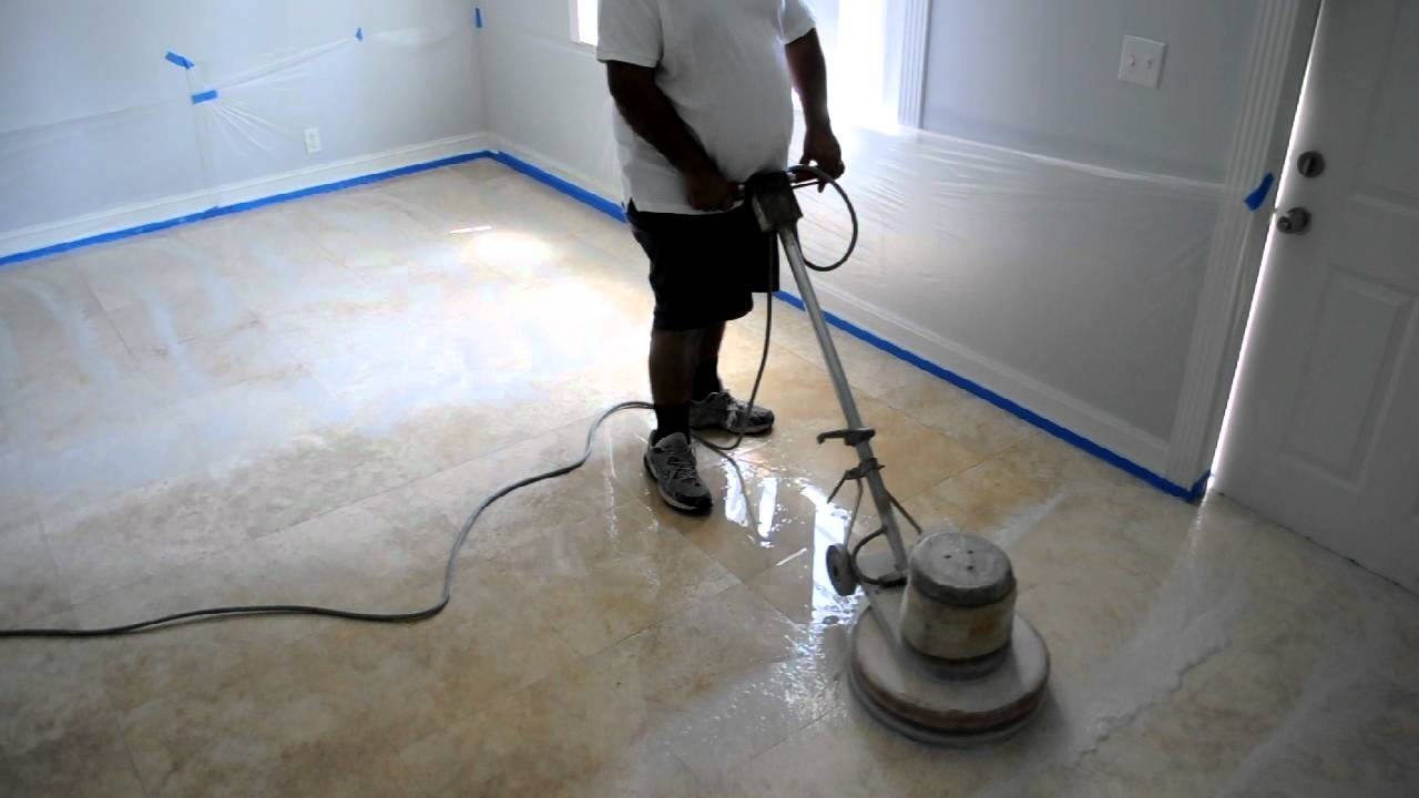 How To Clean 18x18 Travertine Floor Fort Lauderdale Youtube