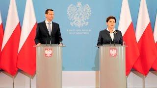 Beata Szydło i Mateusz Morawiecki - wspólna konferencja prasowa