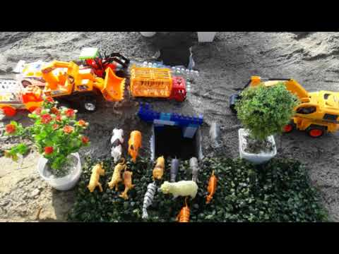 Toys videos for children excavator animals cars truck and park