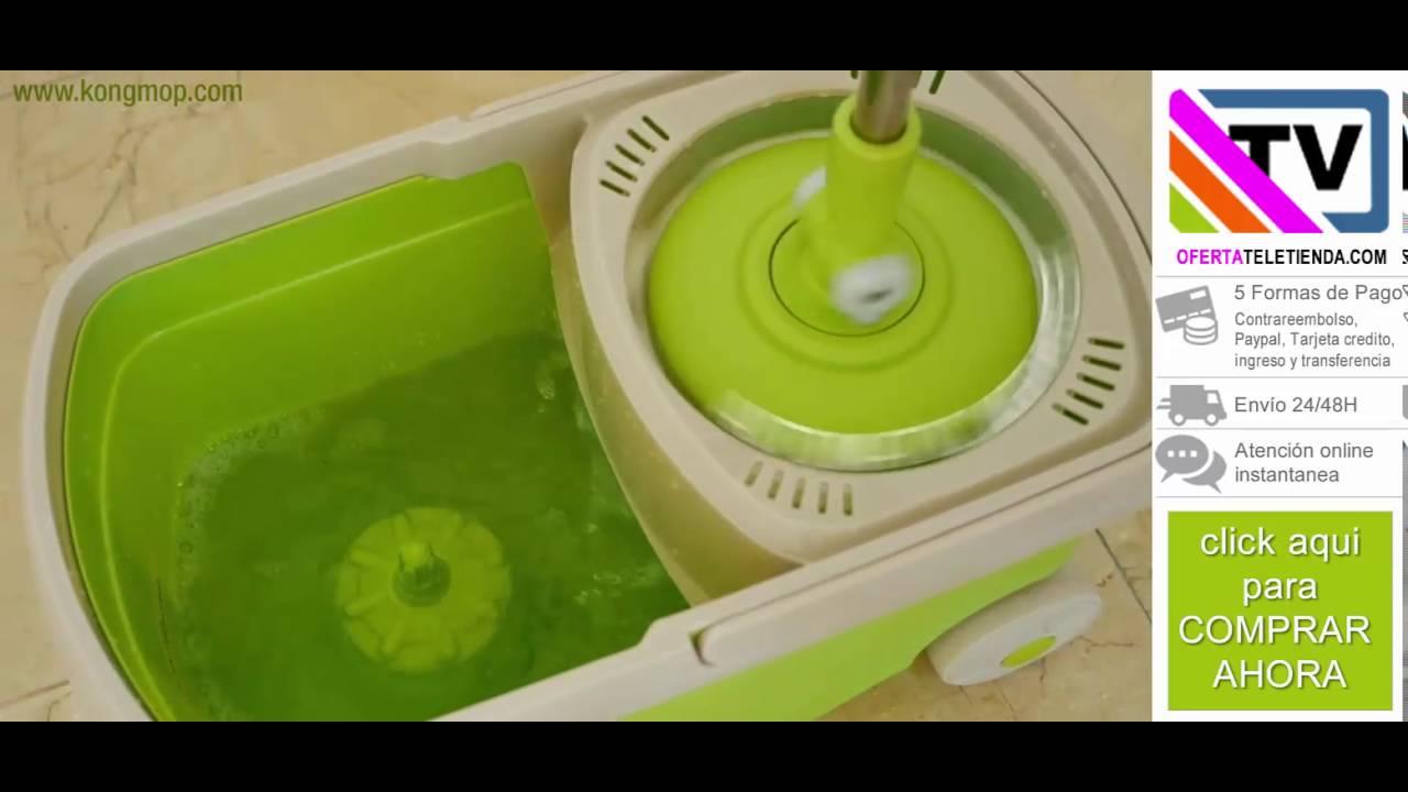 Fregona giratoria y cubo con ruedas kong mop by oferta - Cubo fregona escurridor automatico ...