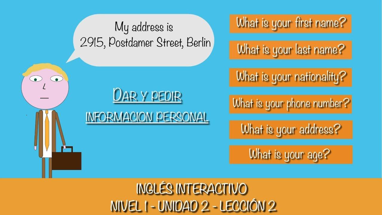 Aprender Ingles - Lección 12 (Dar y Pedir Informacion Personal ...