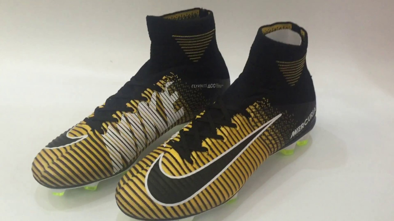 2017 ALL NEW NIKE MERCURIAL SUPERFLY V BOOTS BLACK WHITE GOLDEN