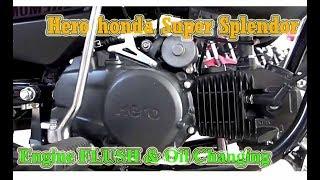 Hero SUPER SPLENDOR Engine FLUSH & Oil Changing