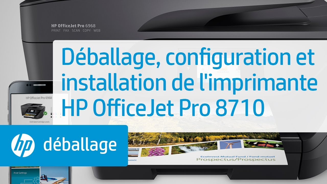 d ballage configuration et installation de l 39 imprimante hp officejet pro 8710 youtube. Black Bedroom Furniture Sets. Home Design Ideas