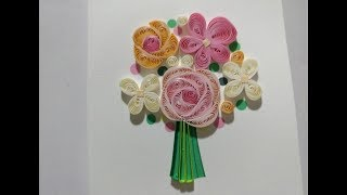 DIY Greeting Card\ Gift Card for Birth Day and Valentine \ Paper Quilling Flower Art