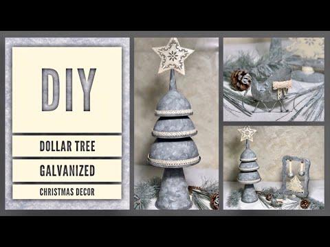 DIY Dollar Tree Rustic Galvanized Farmhouse Christmas Decor Ideas 2019 - Simple, Cheap & Easy Crafts