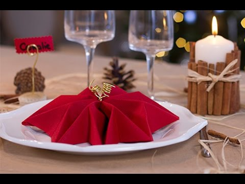 Diy no l pliage de serviette en forme de flocon youtube - Pliage de serviettes pour noel ...