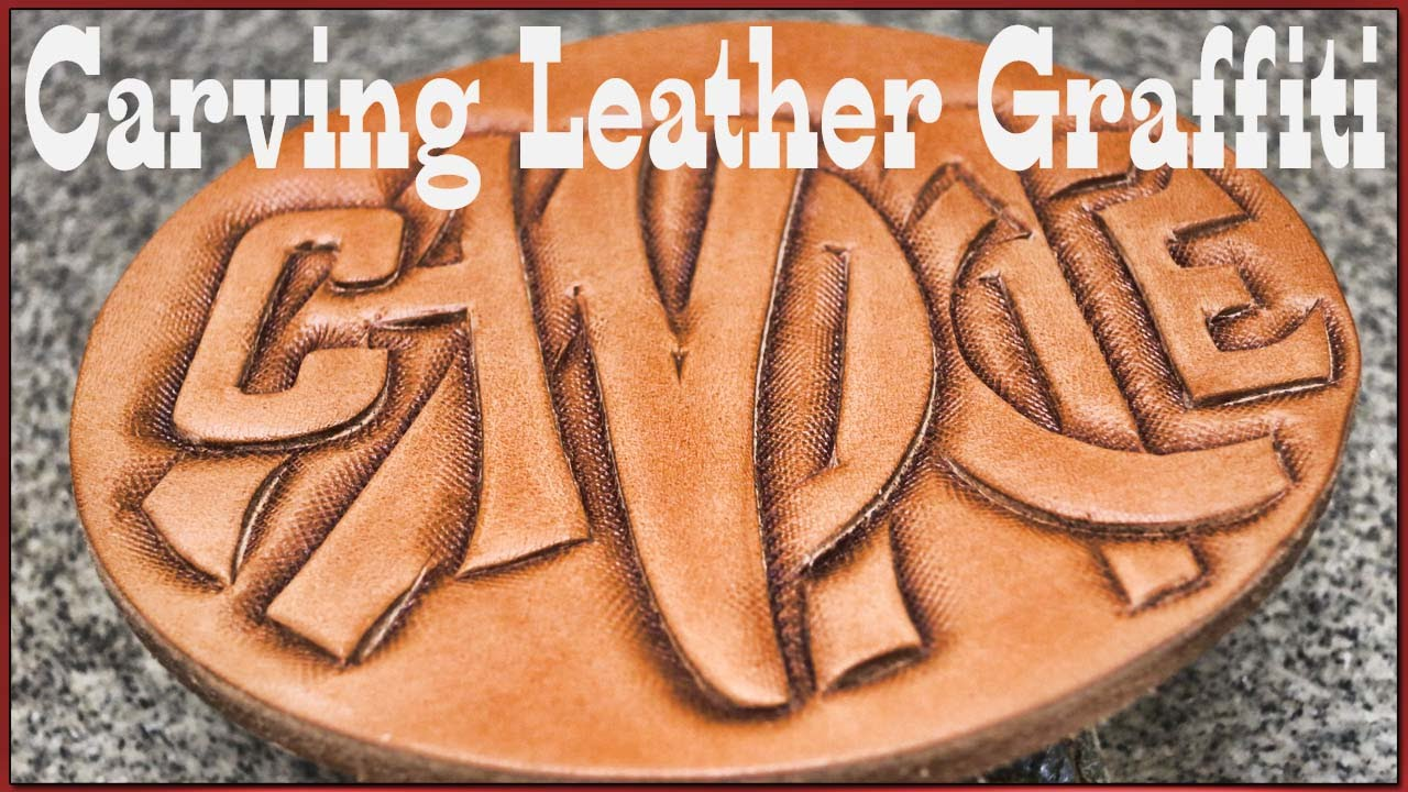Leather craft quick carving leather graffiti lettering tutorial
