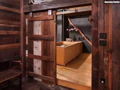 Atemberaubende Badezimmer Mit Sliding Scheunentor Und japanische ...