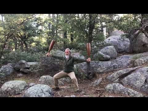 Qigong Wooden Clubs in Sinking Horse Stance