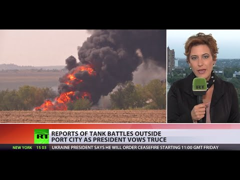 Heavy fighting continues in E. Ukraine as president vows truce