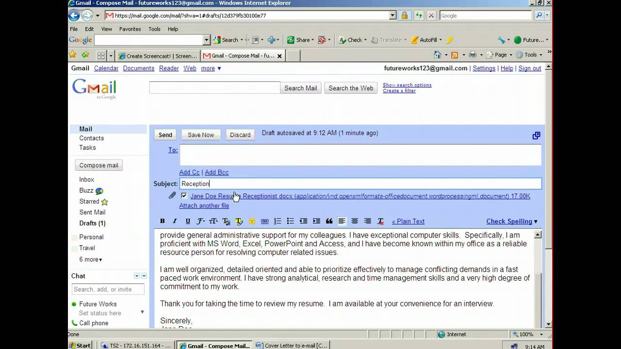 Captivating How To Attach And Email A Resume   YouTube On Email With Resume