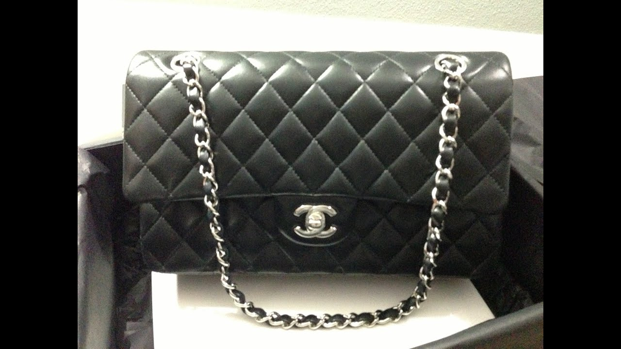 chanel classic medium large double flap bag in black lambskin with silver hardware review